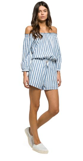 Striped cotton and linen playsuit w1019 .000.51904