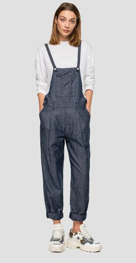 Overalls with denim effect and pockets