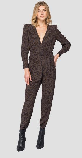 Jumpsuit with all-over animalier print