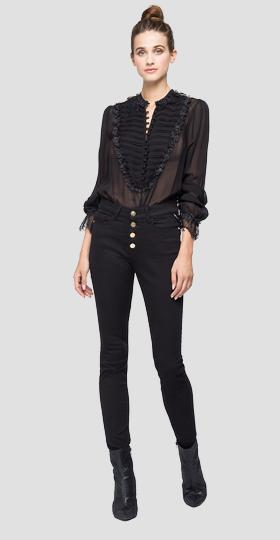 Georgette bodysuit shirt with lace