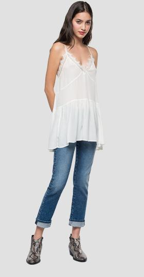 Long cami top with frill at the hem