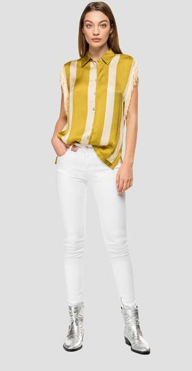 Striped satin shirt with fringes