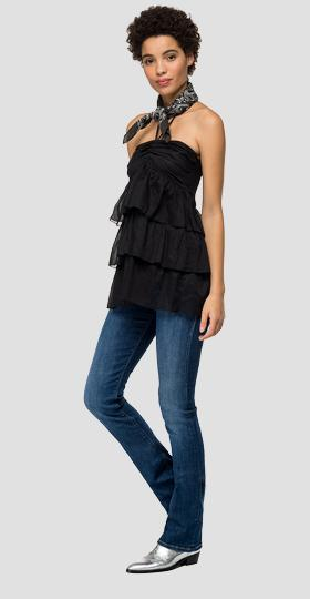 Cami top with lace at the collar