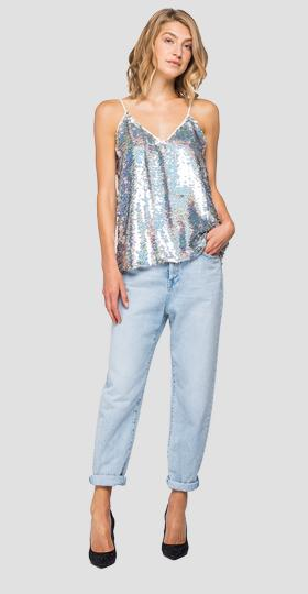 V-neck cami top with sequins