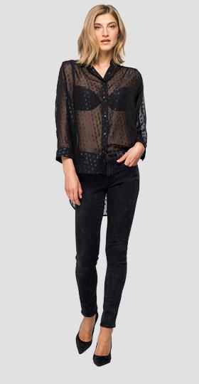 Georgette shirt with lurex dots