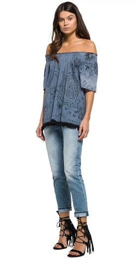 Fringe blouse with all-over print w2880 .000.71172