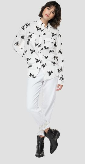 Viscose shirt with all-over flower