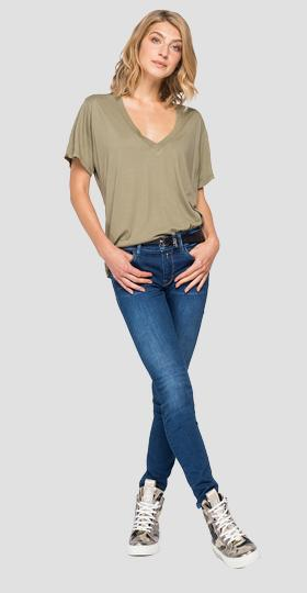 T-shirt in solid-coloured stretch jersey