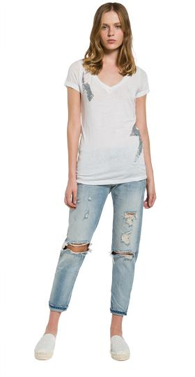 Burnout T-shirt with glitter patches w3809a.000.22060g