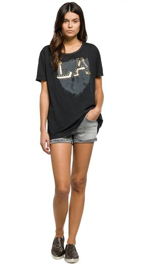 Printed jersey T-shirt with studs w3891 .000.22362c