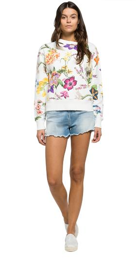 Floral-print cotton sweatshirt w3927 .000.71294