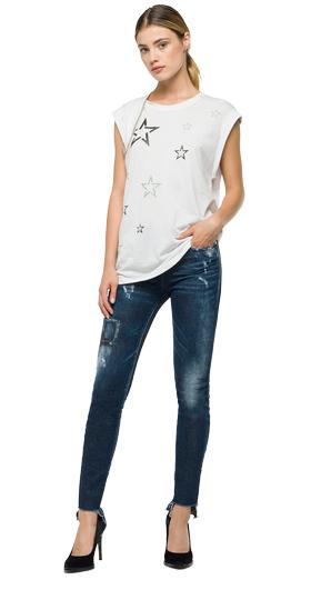 Star print T-shirt with chain w3949 .000.22060g
