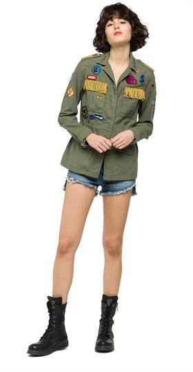 Satin jacket with colourful patches w7253a.000.82724