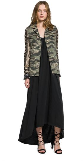 Camouflage jacket with jacquard sleeves w7253d.000.10189