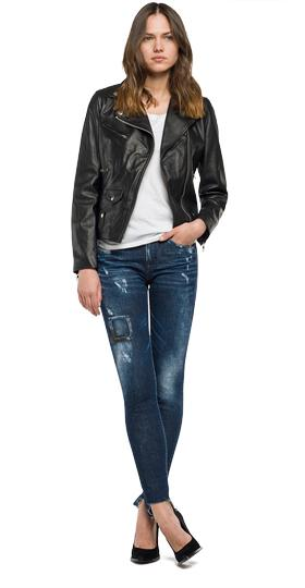 Printed leather biker jacket w7292a.000.82926l