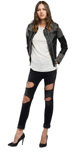 Studded leather jacket w7354 .000.82246