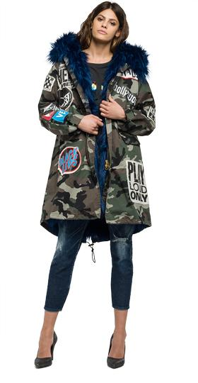 Camouflage parka with patches w7387 .000.70503