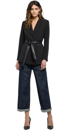Crêpe jacket with belt w7398 .000.82914