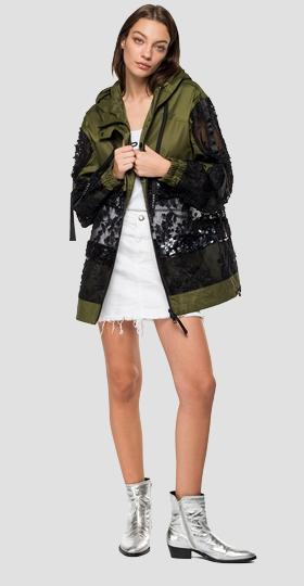 Jacket with embroidery and sequins