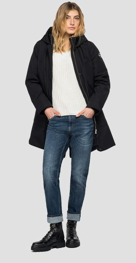 Long padded jacket with pockets