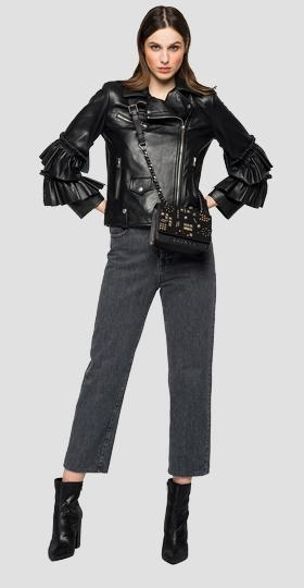 Leather biker jacket with frills