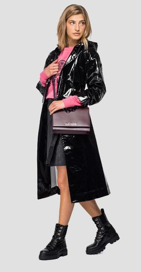Long trench coat with shiny effect
