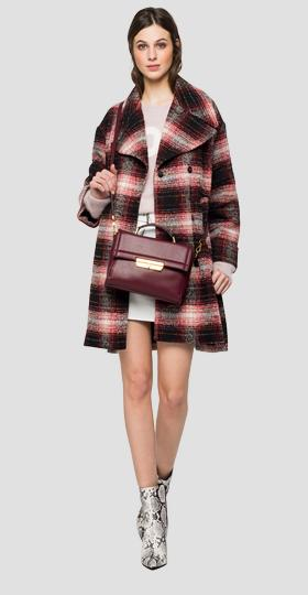Long coat with tartan print