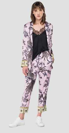 Stretch viscose jacket with all-over print