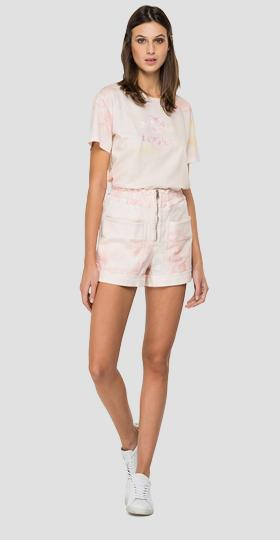 Denim shorts with zipper and all-over pattern