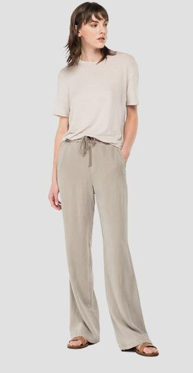 REPLAY Essential trousers in relaxed linen and viscose
