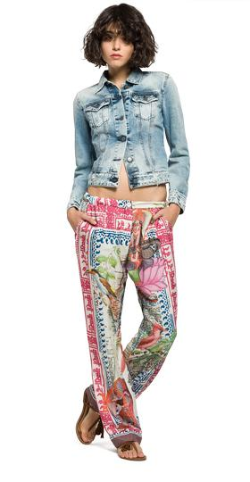 All-over print twill trousers w8751 .000.71158