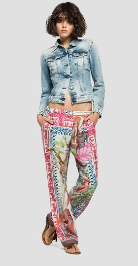All-over print twill trousers