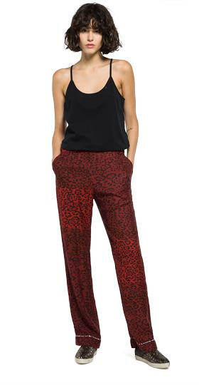 Animal-print satin trousers w8751 .000.71270