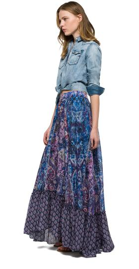 Long printed cotton skirt w9187 .000.71286