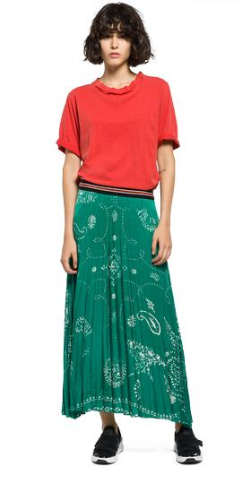 Long pleated skirt with faded print w9209 .000.71226