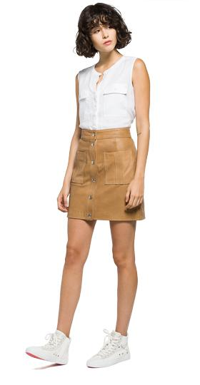 Short leather skirt w9212 .000.82246