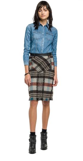 Tartan wool pencil skirt w9237 .000.51986
