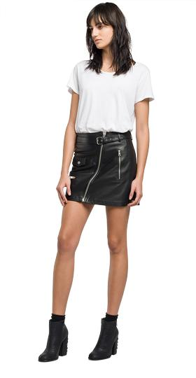 Zip-front leather mini skirt w9241 .000.82926l