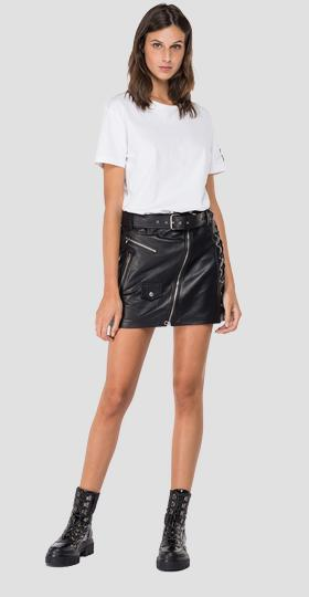 Leather mini skirt with belt