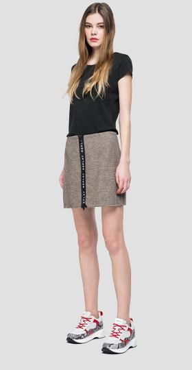 Checked mini skirt with zipper
