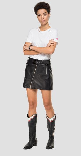 Leather asymmetric skirt with zipper