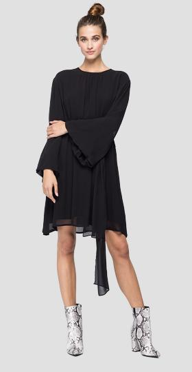 Long-sleeved georgette dress
