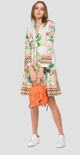 Dress with floral drawstring