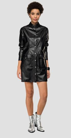 Eco-leather dress with pockets