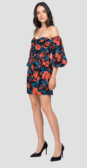 Short dress with floral print