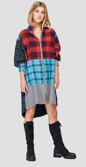 Dress with checked patchwork print