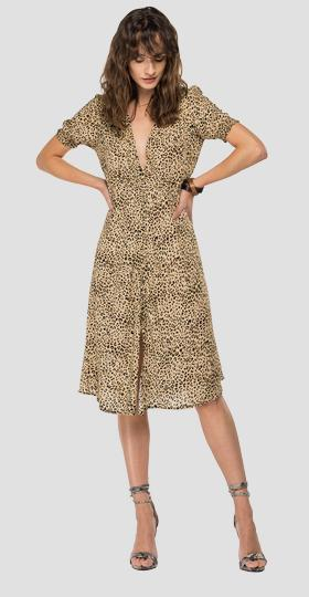 Viscose dress with all-over animalier print