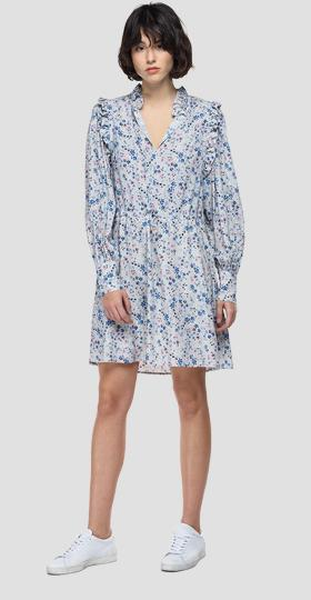Dress with all-over print and ruffles
