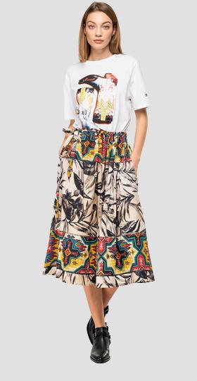 Skirt with ethnic and foliage print
