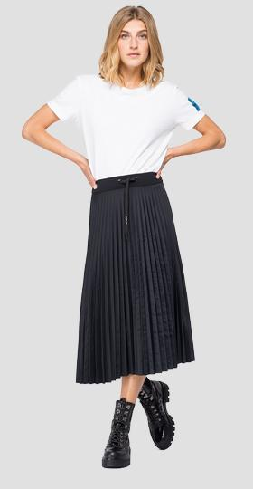 Pleated satin skirt